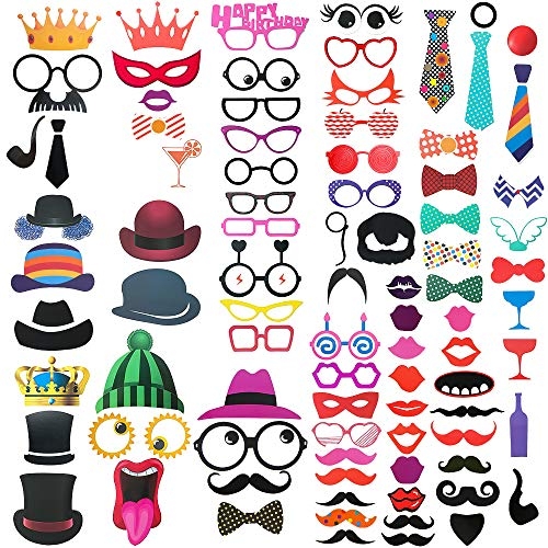 FRESHME DIY Photo Booth Props Kit - 90pcs Photobooth Prop Funny Selfie Accessories Decoration Supplies Costume Mustache Hat Glasses Tie for Birthdays Wedding Holiday Party Christmas Halloween]()