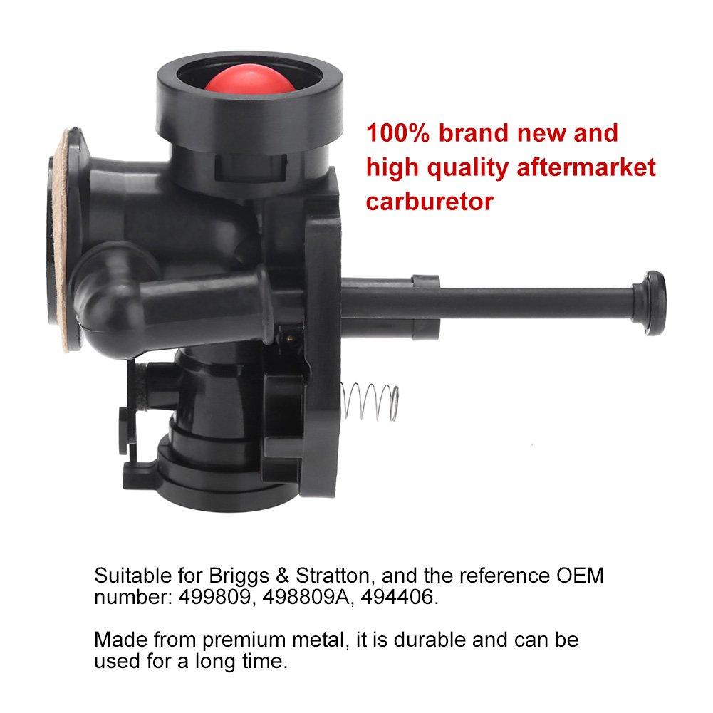Zerodis Remplacement du carburateur de tondeuse /à m/étal avec le mat/ériel dinstallation pour Briggs et Stratton 499809 498809A 494406
