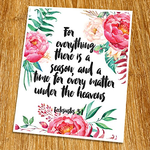 Ecclesiastes 3:1 For everything there is a season Print (Unframed), Watercolor Flower, Scripture Art, Bible Verse Print, Church wall decor, Word of Wisdom, Religious Quote, 8x10