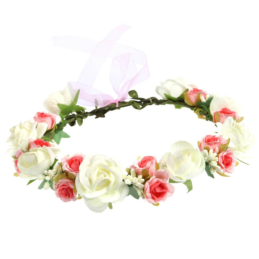 Love Sweety Women Rose Flower Crown Wreath with Adjustable Ribbon for Wedding Festival (Peach)