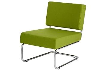 Gruner Lounge Sessel Ohne Armlehne Auf Ein Chrom Rahmen Sitzend