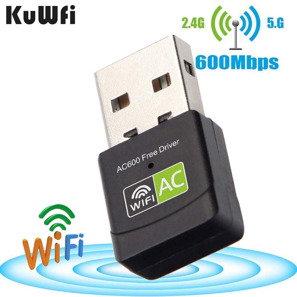 KuWFi AC600 802.11n / g / b Adaptador Wifi inalámbrico USB de doble banda para PC PC de escritorio portátil, soporte Windows XP / Vista / WIN7 / 8 / 8.1 / 10, Mac 10.4-10.11, etc.
