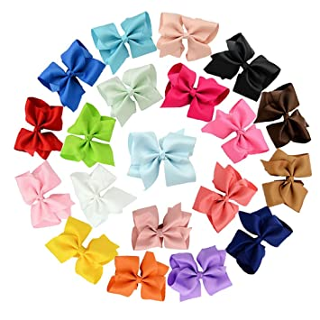 "LOT OF 20 Girl/'s 5"" Inch HAIRBOWS Hair Bows Handmade random Colors"