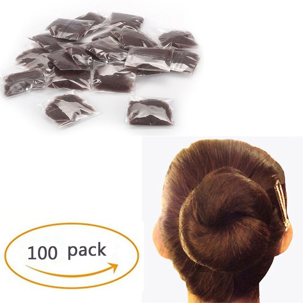 Pack of 100pcs 22' Hair Nets Invisible Elastic Edge Mesh Fancy Look Hair (Light Brown-100) Comfy Package B-LB100
