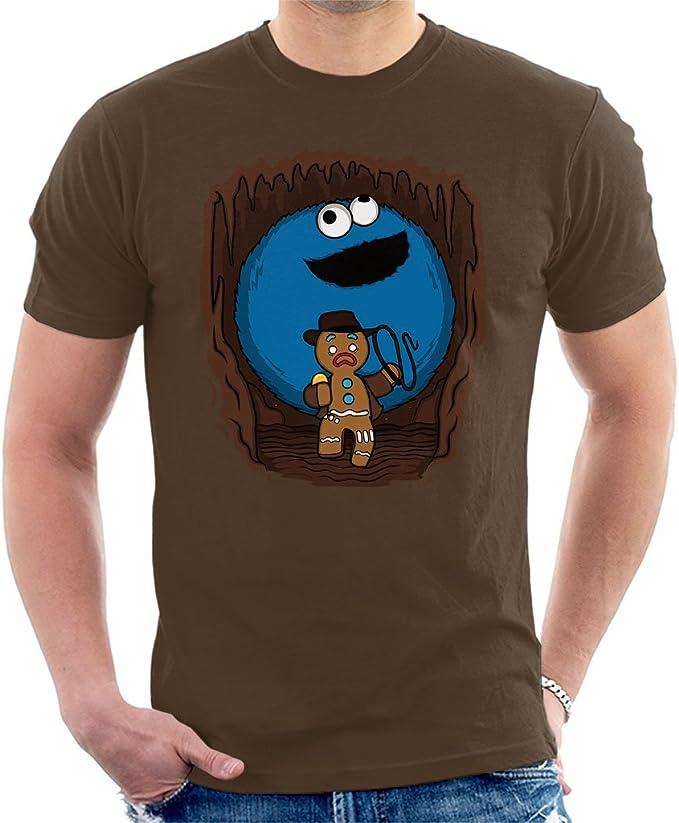 Cloud City 7 - Camiseta para hombre del monstruo de las galletas con un Indiana Jones de galleta jengibre: Amazon.es: Ropa y accesorios