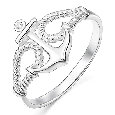 MunkiMix 925 Plata 13mm Anillo Ring Cz Cubic Zirconia Circonita El Tono De Plata Ancla Náutico Cuerda Mujer: Amazon.es: Joyería