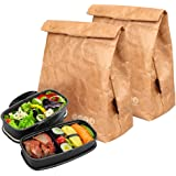 Hangnuo 2 Pack Insulated Brown Paper Lunch Bags Large Reusable Lunch Sack for Adults Work Office & Kids School - 25*20*11CM
