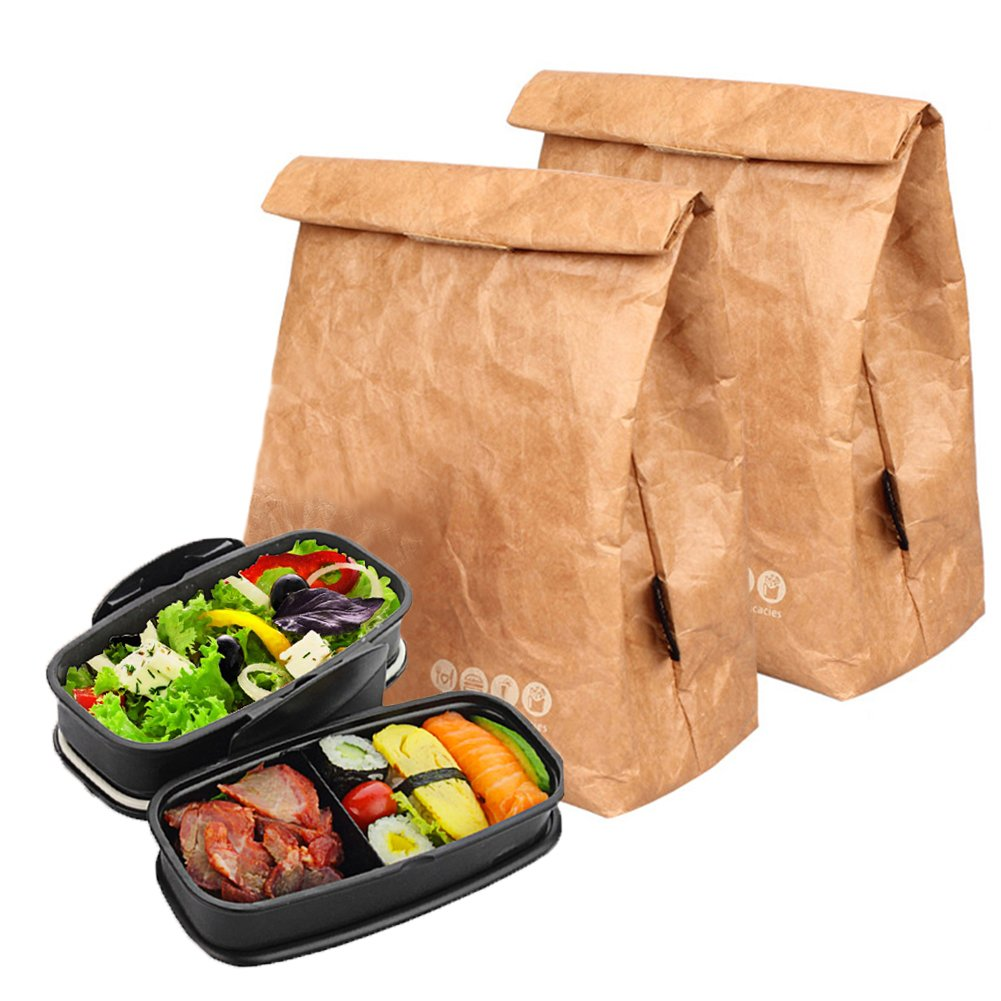 Hangnuo Insulated Brown Paper Lunch Bags Large Reusable Lunch Sack for Adults Work Office & Kids School - 25*20*11CM