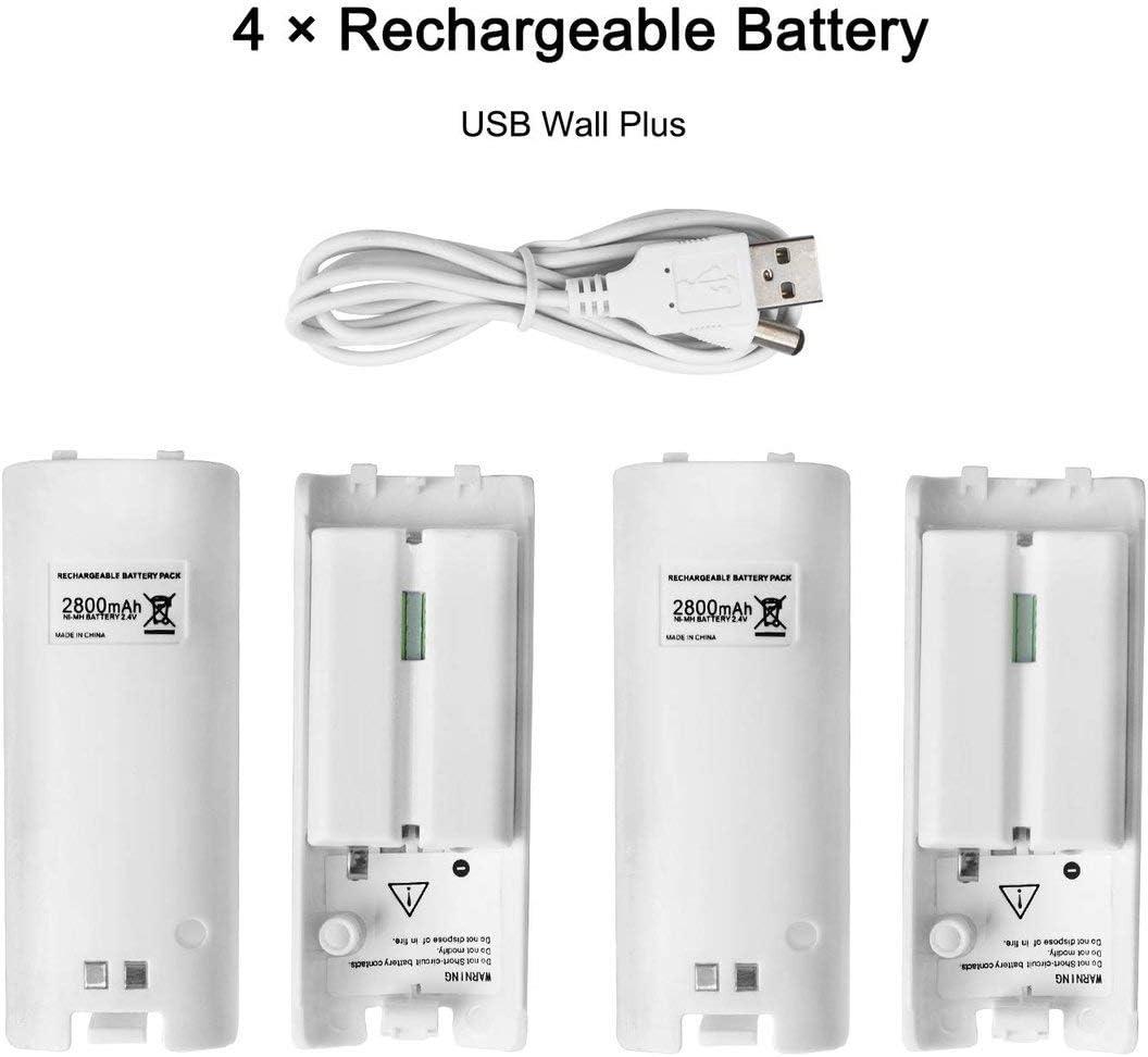 Gugutogo 4 en 1 para la estaci/ón de Carga de Wii U para el Controlador de Wii U Estaci/ón de Carga de Wii con 4 para bater/ías de Wii Bater/ía