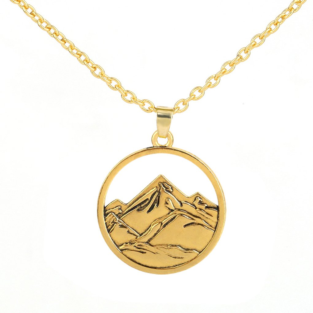 3D Snow Mountain Landscape Pendant Necklace Gift for Outdoor Traveller Lovers GeXiang