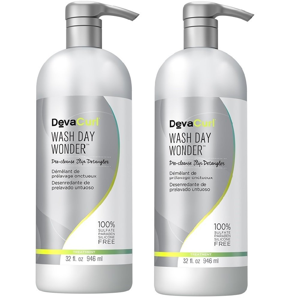 DevaCurl Wash Day Wonder; Pre-Cleanse Treatment; Slip Detangler; Silky and Lightweight; 32 Ounce; 2-Pack