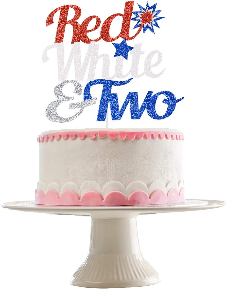Red White and Two Cake Topper Glitter- 4th of July Theme 2nd Birthday Decorations,2nd Birthday Cake Topper,Red White Blue Cake Decor, 4th of July Decorations
