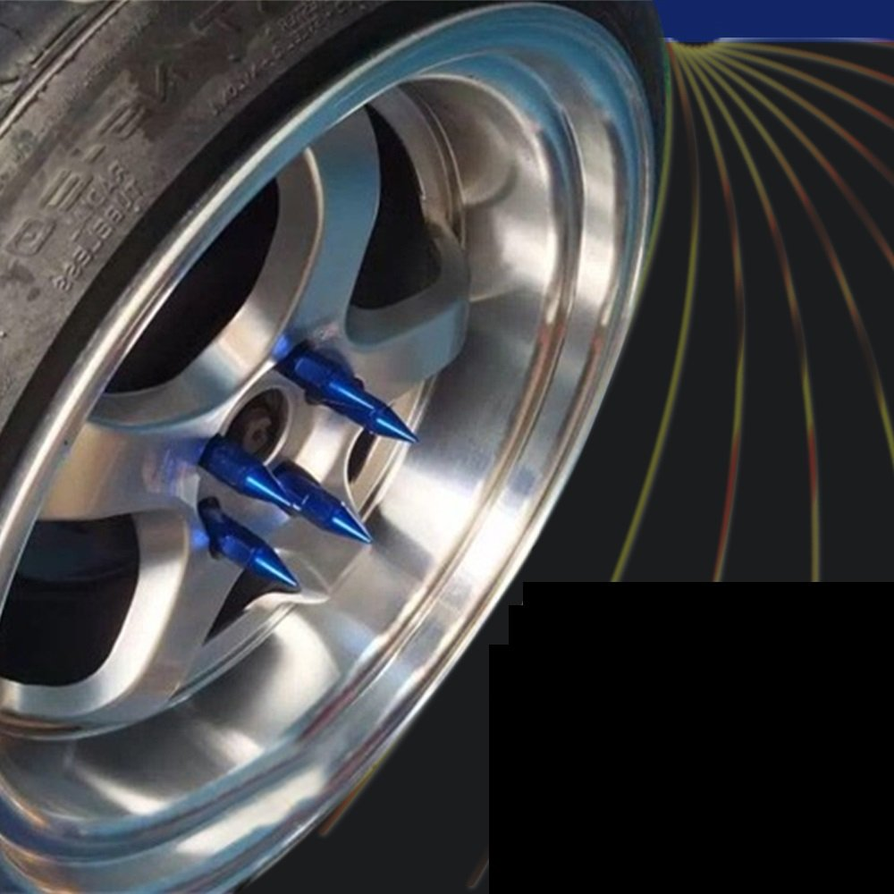 MD Group Car Wheels Rims Lug Nuts Spiked 60mm Blue Aluminum Extended Tuner 20pcs M12X1.5
