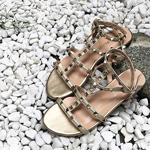 Daily Pattern Summer Rivets With Women's Strap Sandals Gold Flats Buckle Studs MERUMOTE Flat UYqOg
