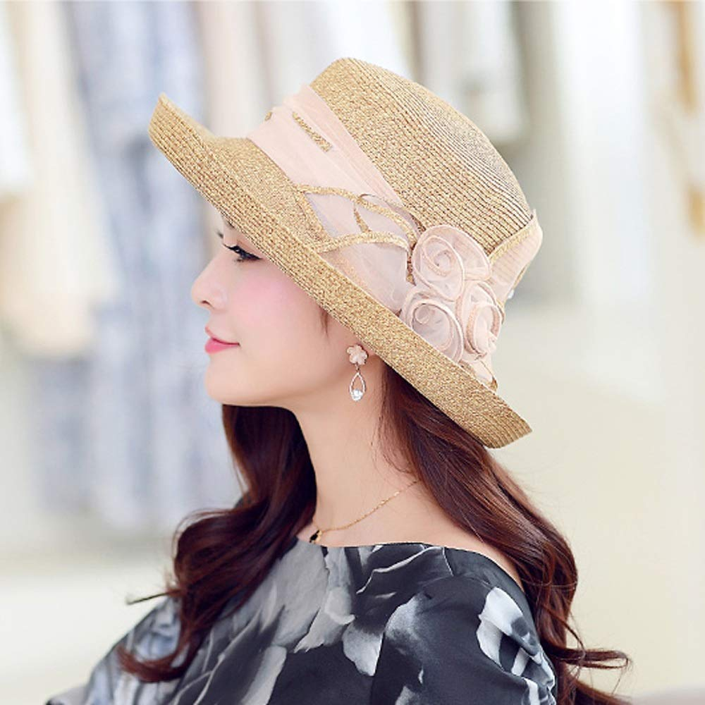 YD Hat - Straw Hat Ladies Summer Sun Visor Outdoor Travel UV Protection Sun Hat Sun Hat Cover Face Cool Hat (2 Colors) ## (Color : Beige) by YD-shop (Image #2)