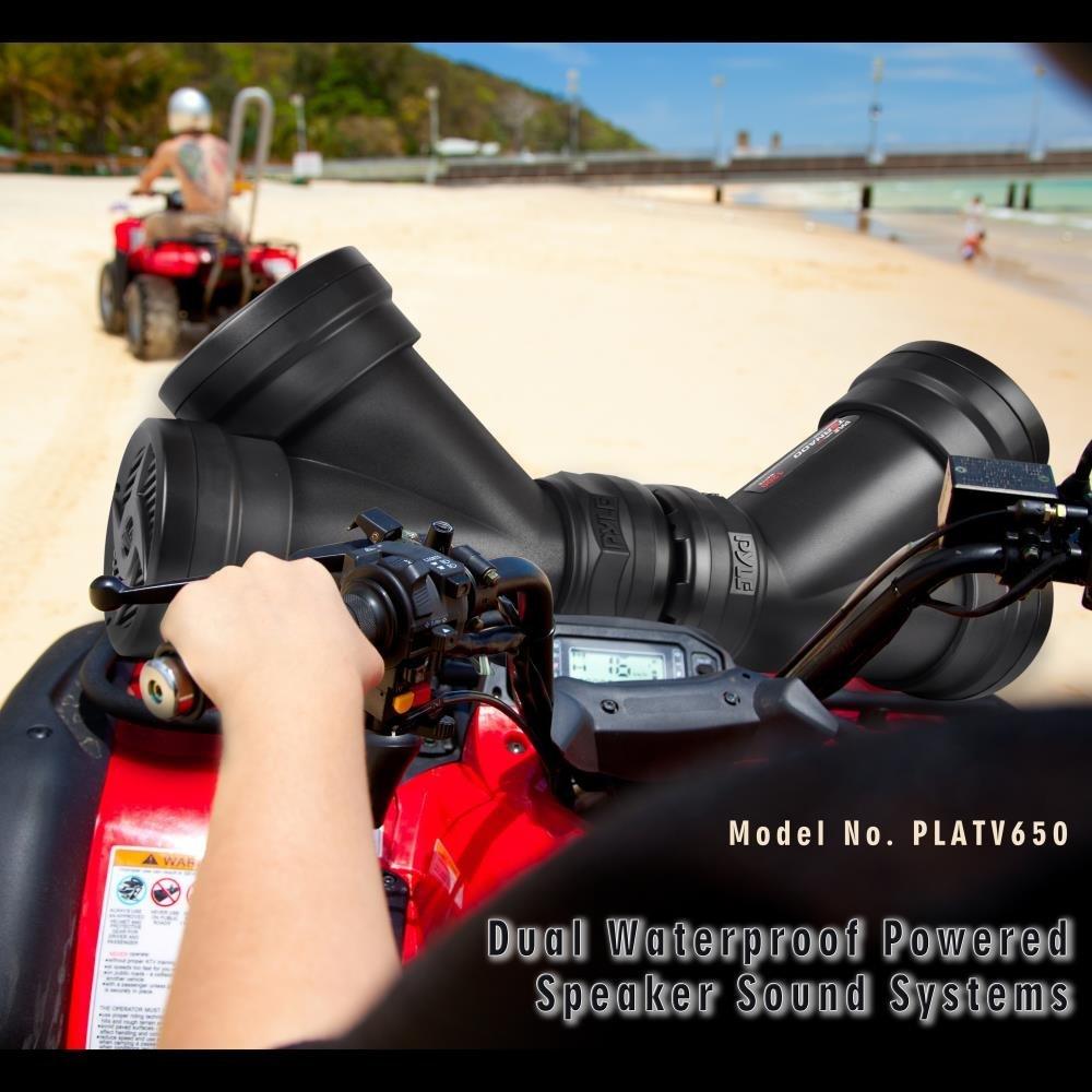 Set of 2 Pyle PLATV650 Dual Waterproof Powered Speaker /& Amplifier Sound System