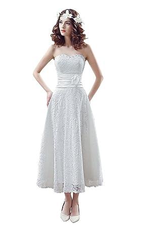 Ankle Length Lace Wedding Dress