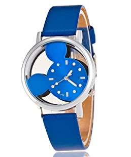 montre quartz type mickey bleue