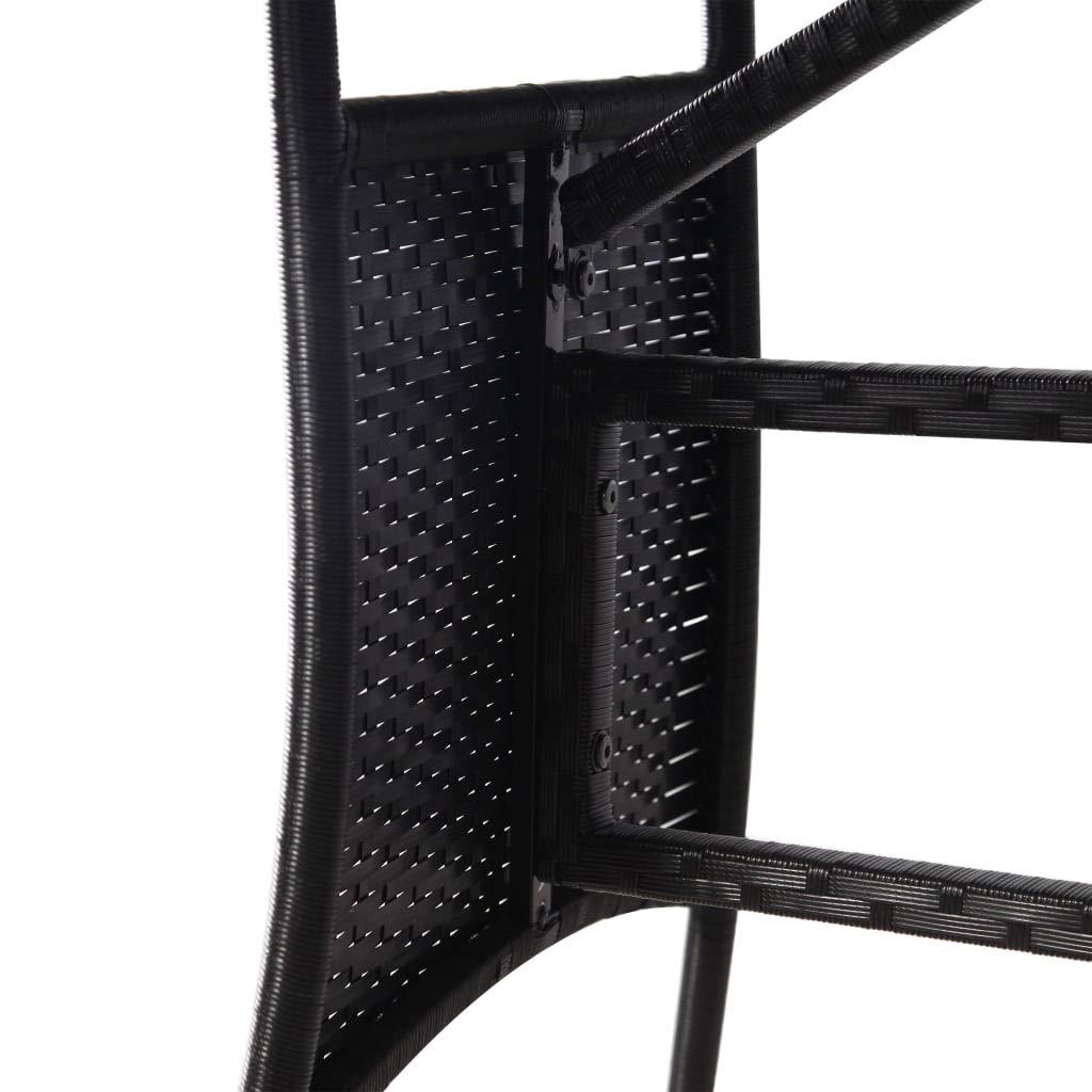 Tidyard Compuesto de Jardin Rattan Mesa Cuadrada de Acero Negro 140 x 80 x 74 cm Longitud x Anchura x Altura