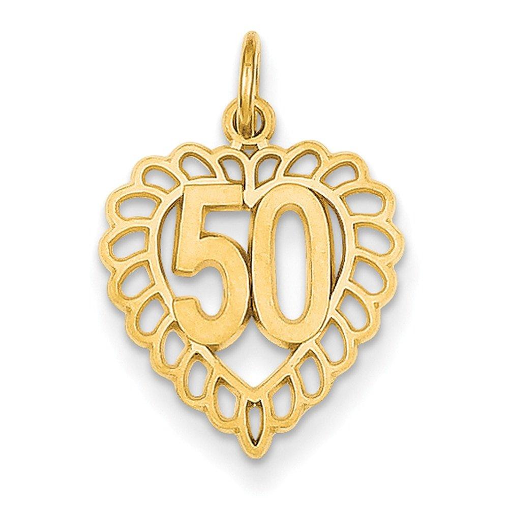 Lex & Lu 14k Yellow Gold 50 in Heart Charm LALC987