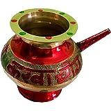 Salvus App SOLUTIONS Elegant Handmade Red Pooja Karwa, karwa chauth lota, karwa chauth Set,karwa,karwa lota Silver,karwa lota Copper, karwa lota Brass, lota, Brass lota, 5 Inch (No.3)