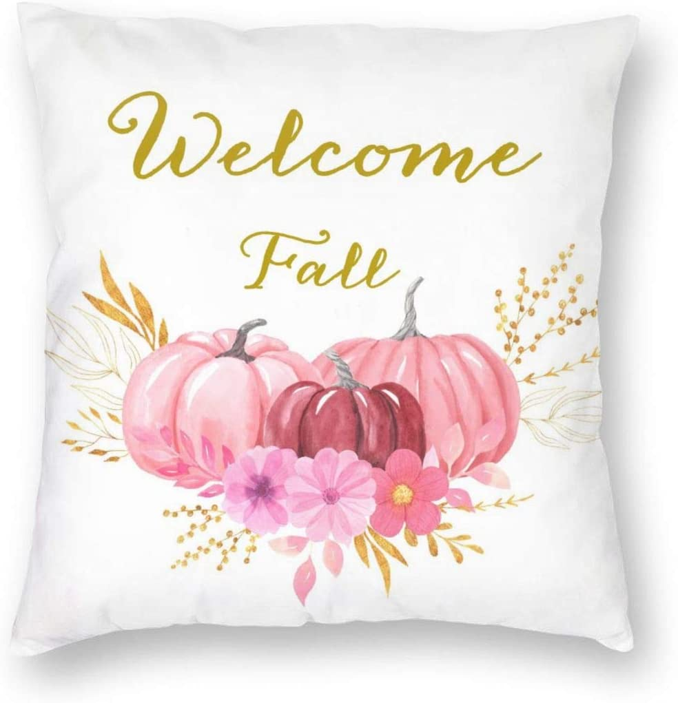 MINIOZE Welcome Fall Pink Pumpkin Flowers Autumn Thanking Print Plush Soft Square Pillow Covers Home Decor Cushion Covers Decorations Gifts Pillowcase for Indoor Sofa Bedroom Car 18 x 18 Inch