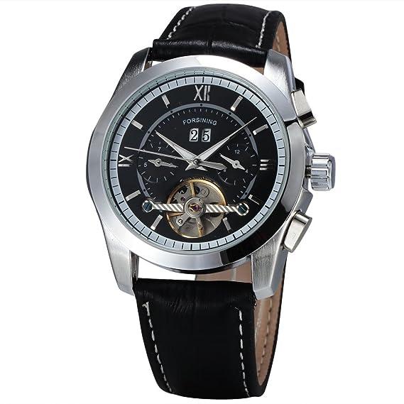 Forsining Hombres automático del volante mecánico reloj de cuarzo reloj de pulsera banda de cuero negro