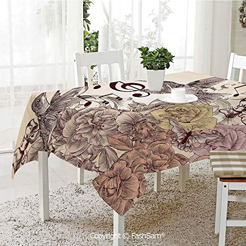 AmaUncle 3D Dinner Print Tablecloths Fashion Flourishes and Birds Rose Blossoms Leaves Nostalgia Classic Kitchen Rectangular Table Cover (W60 xL104)]()