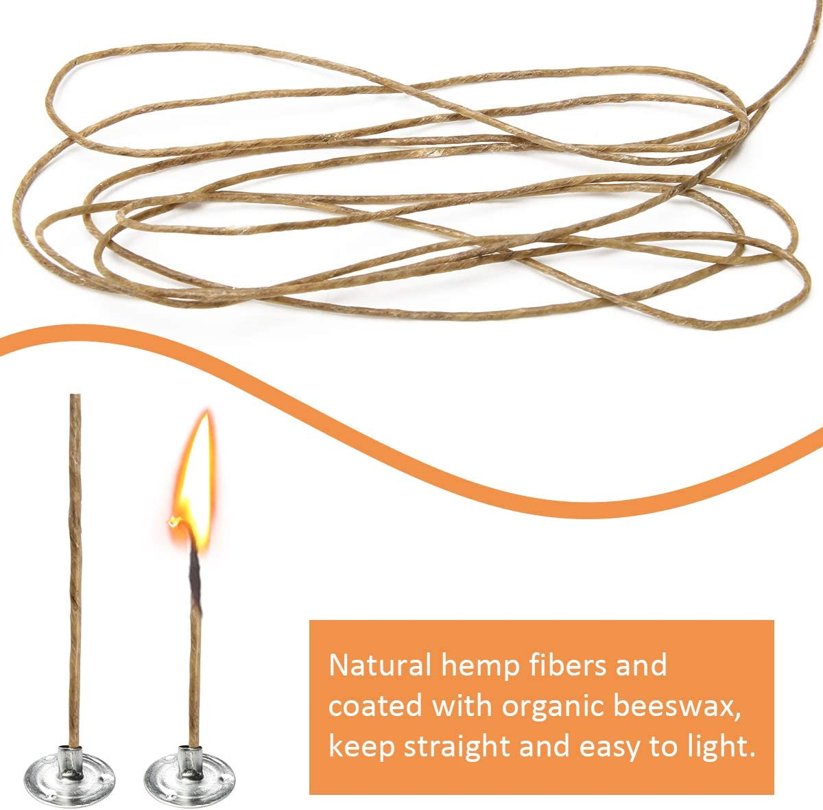 Natural Beeswax Coating for Candle Making 1.5mm Coitak 200FT Hemp Candle Wick with 200 PCS Metal Tabs