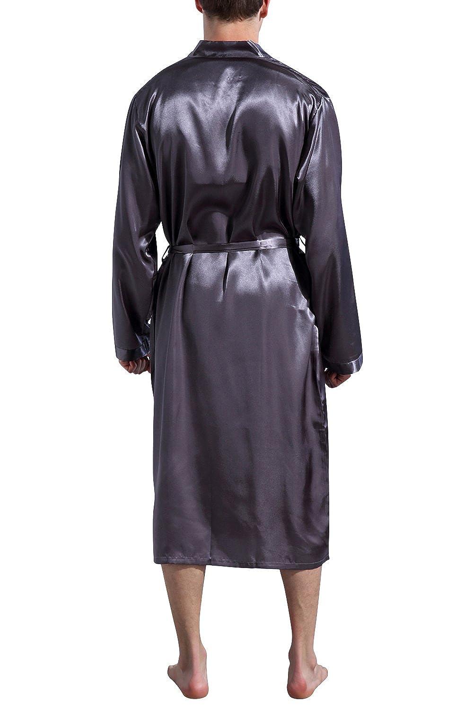 Dolamen Albornoz para Hombre Vestido Batas y kimonos Sat/én Suave y ligero Sat/én Camis/ón Lujo Robe Albornoz Ropa de dormir Pijama con Cintur/ón y bolsillos