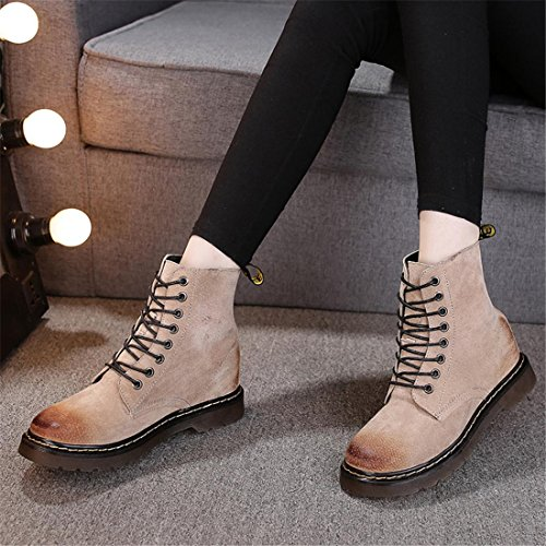 NVXIE Women's Short Boots New Leisure Round head Low Rough Heel Genuine Leather Strappy Martin Boots Black Spring Fall Winter Party Work 2-EUR37UK455 Yq2OEFPqP