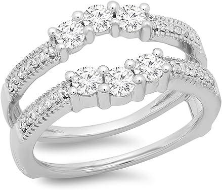 anillo oro blanco doble con diamantes