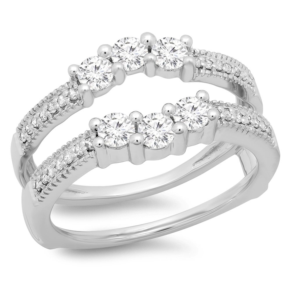 0.80 Carat (ctw) 14K White Gold Round Cut Diamond Wedding 3 Stone Enhancer Guard Ring 3/4 CT (Size 7)