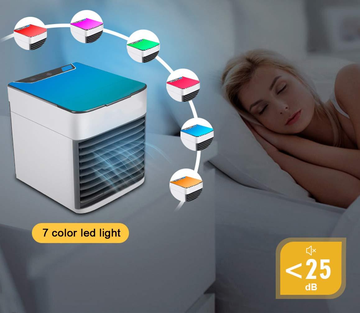 YQ Arctic Air Air Cooler X2 iluminaci/ón Nocturna de 7 Colores conexi/ón USB f/ácil de Transportar Adecuado para el hogar, Tres en uno para enfriamiento y humidificaci/ón y purificaci/ón de Aire