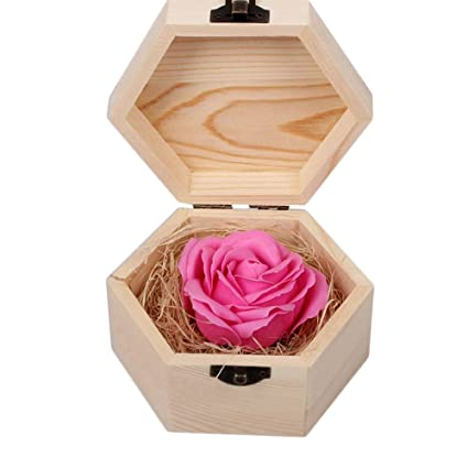 d3d65ebcb74cb FLYING BALLOON Beautiful Soap Flowers with Wooden Hexagonal or Heart-Shaped  Gift Box Best Valentine s