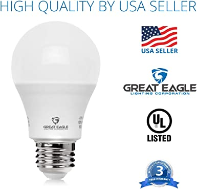 6-Pack Great Eagle 100W Equivalent LED Light Bulb 1550 Lumens A19 Soft White 3000K Dimmable 14-Watt UL Listed