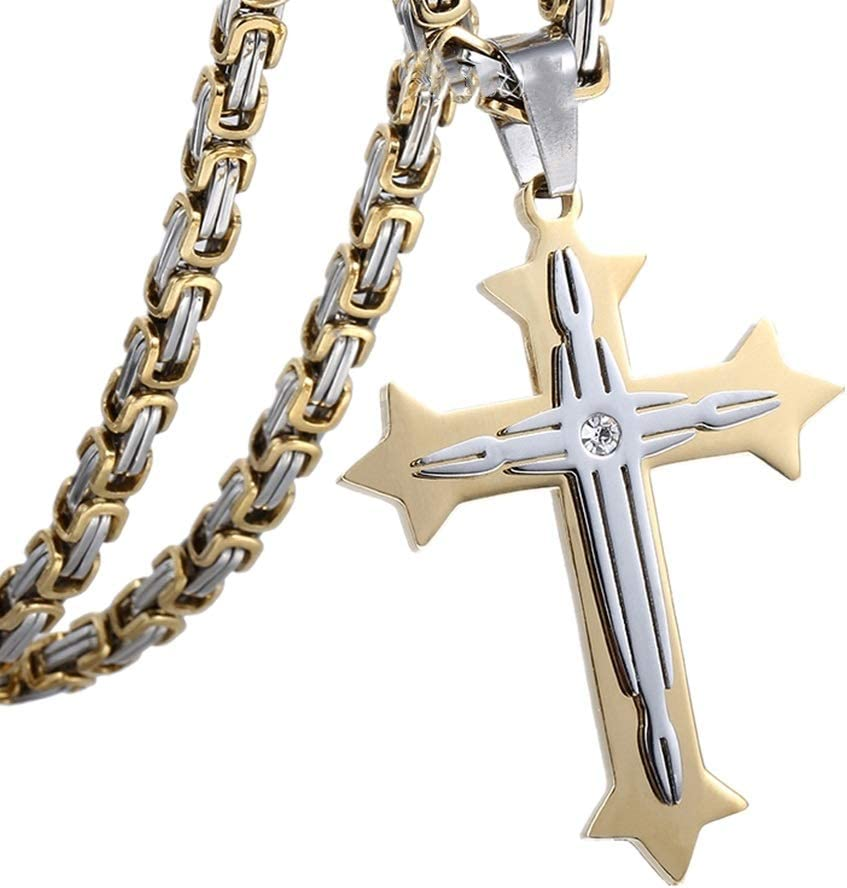 Color : Gold, Size : 20in Yuehjnba Ladies Necklace Necklace Cross Pendant Mens Stainless Steel Jewelry Retro Pendant Original Niche Pendant for Women and Men Suitable for Ladies