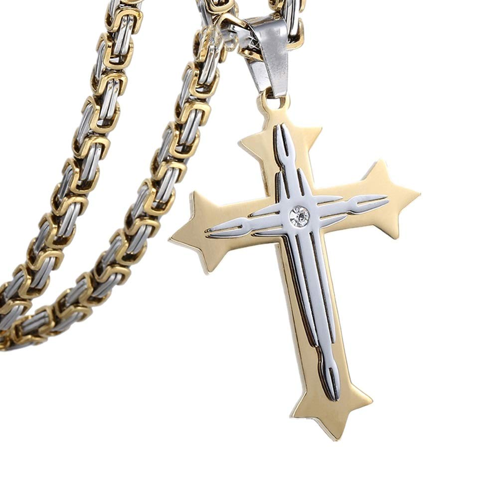 Color : Gold, Size : 28in Crystal Stainless Steel Necklace Cross Pendant Mens Stainless Steel Jewelry Men and Women Retro Pendant Urn Necklaces for Ashes