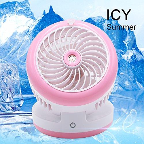 Portable Handheld Misting Fan Mini USB Fan Multifunction 3 in 1 Cooling Fan,Beauty Humidifier,Power Bank Water Spray Fan for Home, Office, Kitchen, Bedroom, Desktop, Traveling, Hiking, Biking (Pink) by Rabbitroom (Image #5)