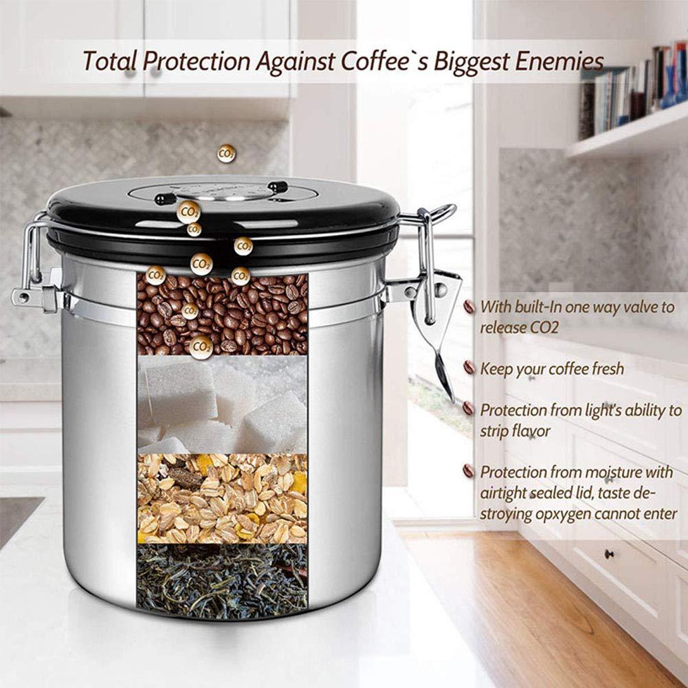 t/é Recipiente herm/ético para caf/é con Cuchara harina Interruptor de Escape Recipiente de caf/é de Acero Inoxidable al vac/ío con rastreador de Fecha Lata sellada para caf/é en Grano az/úcar