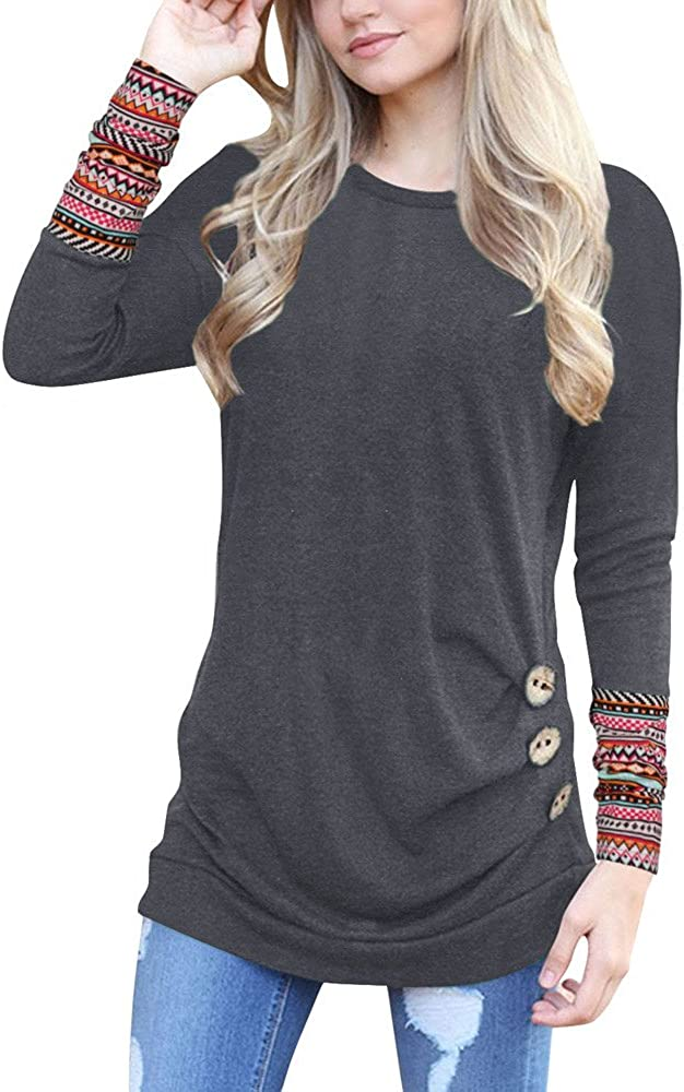 Womens Casual Round Neck Blouse Shirts Long Sleeve Patchwork Button Tops Tunic