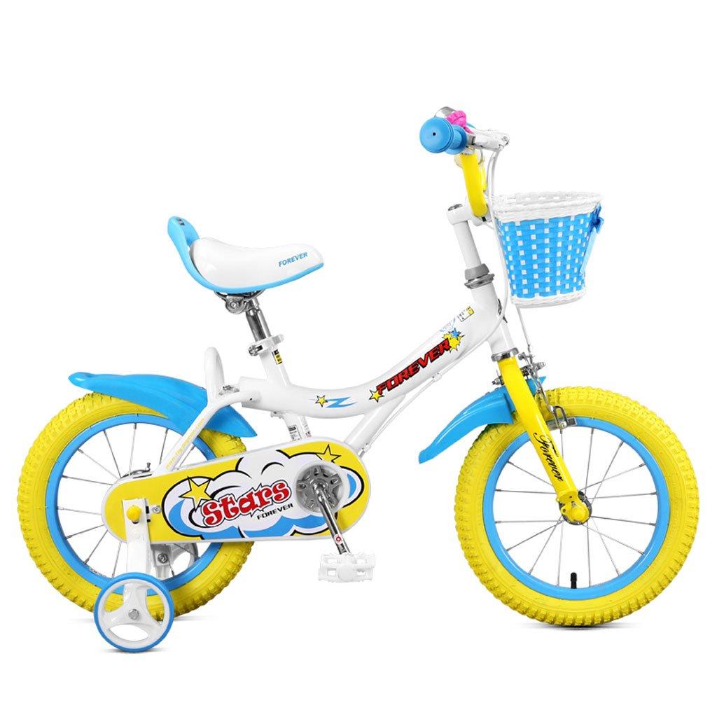 子供用自転車14インチ自転車3-5赤ちゃんの赤ちゃんハイカーボンスチールボーイズ&ガールズ自転車、ホワイトピンク/イエロー/ホワイトブルー (Color : White blue) B07CVT9PC3