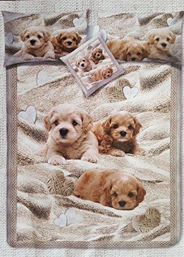 Copripiumino Matrimoniale Animali.Copripiumino Stampa Digitale Cuccioli Cani Letto