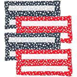 Xanitize Reusable Washable Eco Friendly Pads for the Swiffer Wet Jet | Velcro Attachment (Red White & Blue Stars) 4-pack