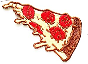 Nipitshop Patches Pizza Spicy Flavor Italian Pizza Food Snack Logo Kids Cartoon Iron On Embroidered Applique Patch for Clothes Great as Happy Birthday Gift