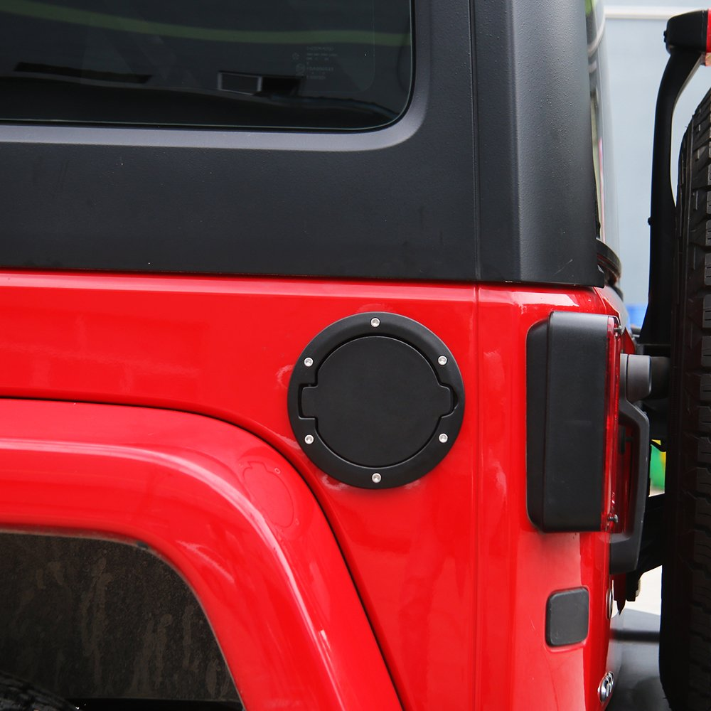 Gas Cap Fuel Door Gas Tank Cover for Jeep Wrangler JK /& Unlimited Sport Rubicon Sahara 2007-2018