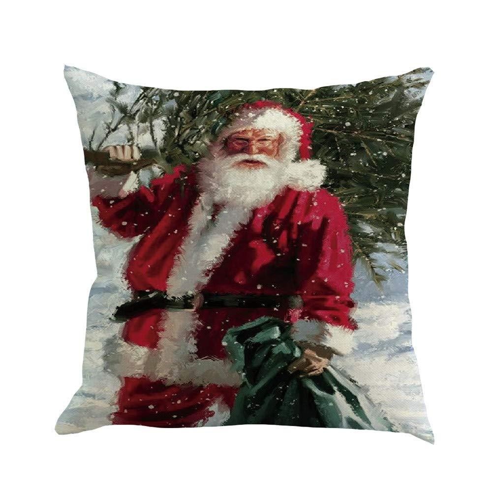 Pgojuni Christmas Flax Sofa Car Home Waist Cushion Cover Throw Pillow Cover Sofa/Couch 1pc (E)