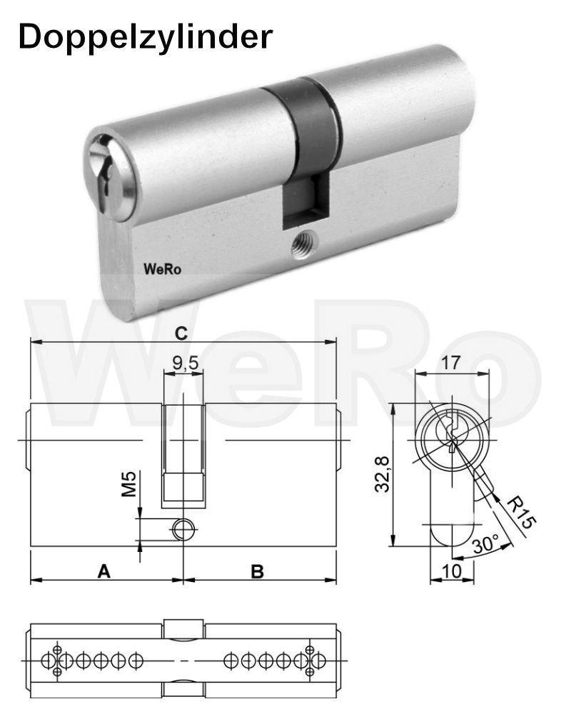 L/änge A:45 mm B:50 mm Knaufzylinder Schlie/ßzylinder f/ür gleichschlie/ßendes SET//Variante