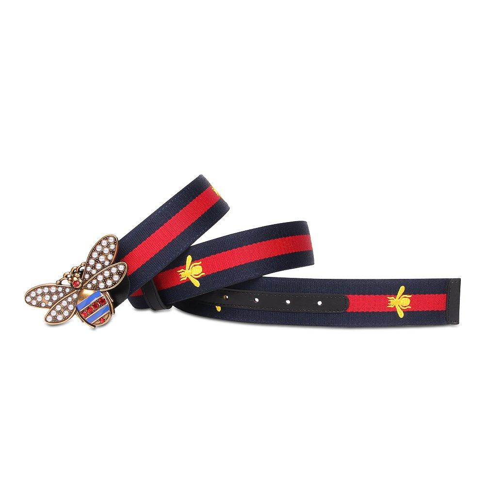 Beatfull Designer Belt for Women, Genuine Leather Bee Buckle Web Beltsh (125cm, Blue-red)