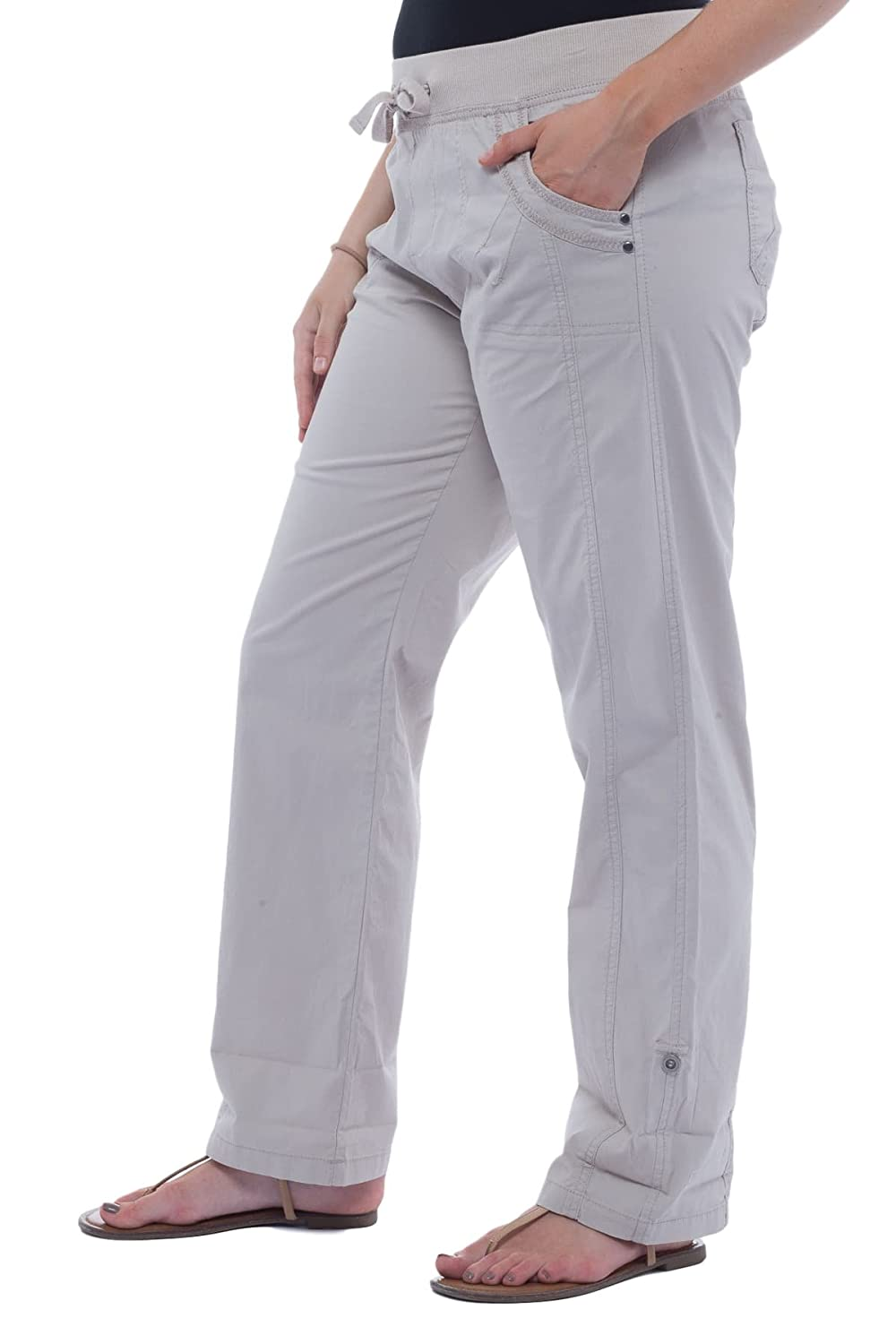 f6ad6de59f03 Alki'i Women's Loose Fit Summer Pants with Roll-up Leg 2161 at Amazon  Women's Clothing store: